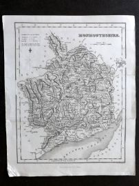 Bell & Fullarton C1835 Antique Map. Monmouthshire, Wales